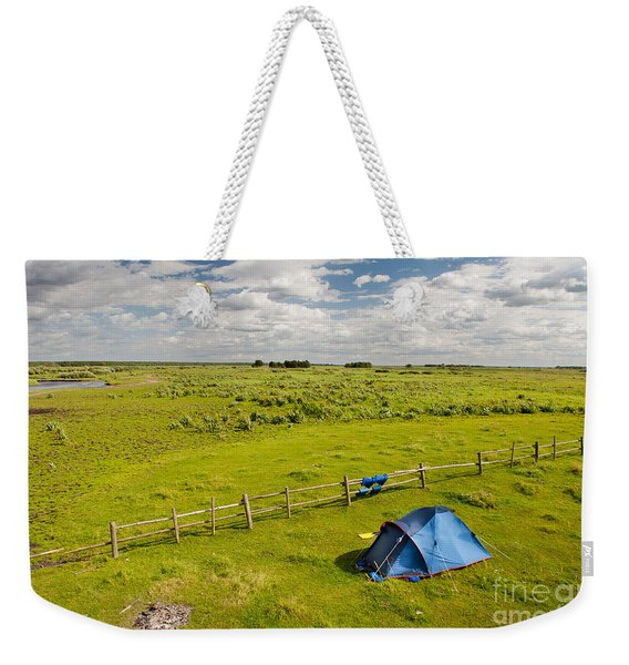 Camping Tent And Grass Expanse Landscape  Weekender Tote Bag