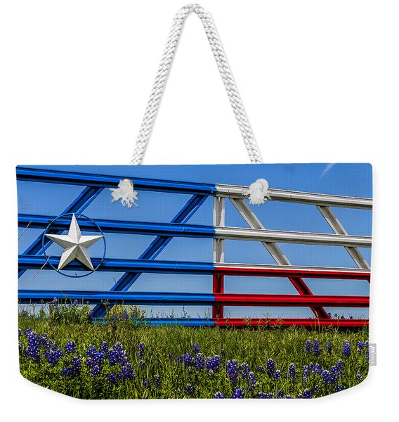 Texas Flag Painted Gate With Blue Bonnets Weekender Tote Bag