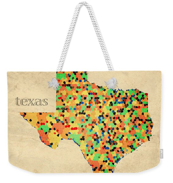 Texas Map Crystalized Counties On Worn Canvas By Design Turnpike Weekender Tote Bag