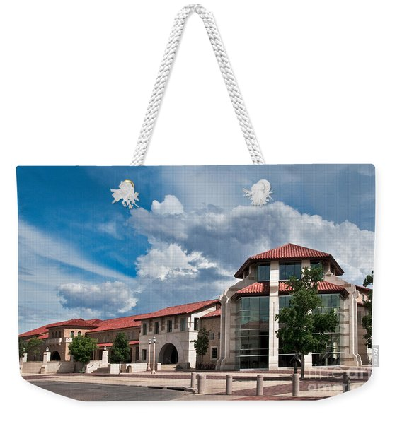 Weekender Tote Bag featuring the photograph Texas Tech Student Union by Mae Wertz