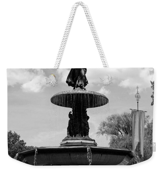 The Angel Of Waters B W - Central Park  Nyc Weekender Tote Bag