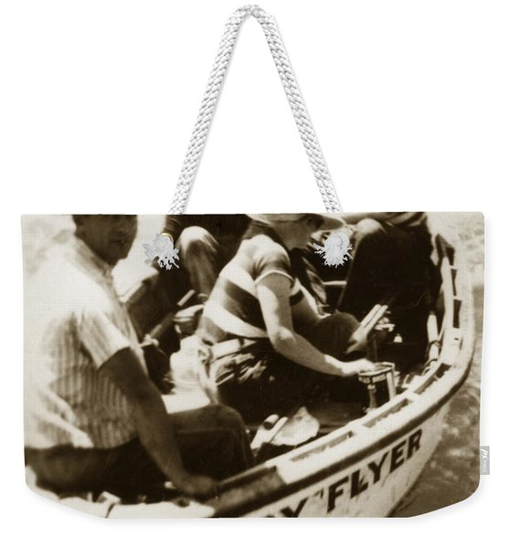 The Baby Flyer With Ed Ricketts And John Steinbeck  In Sea Of Cortez  1940 Weekender Tote Bag