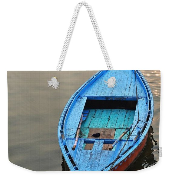 Weekender Tote Bag featuring the photograph The Blue Boat by Kim Bemis
