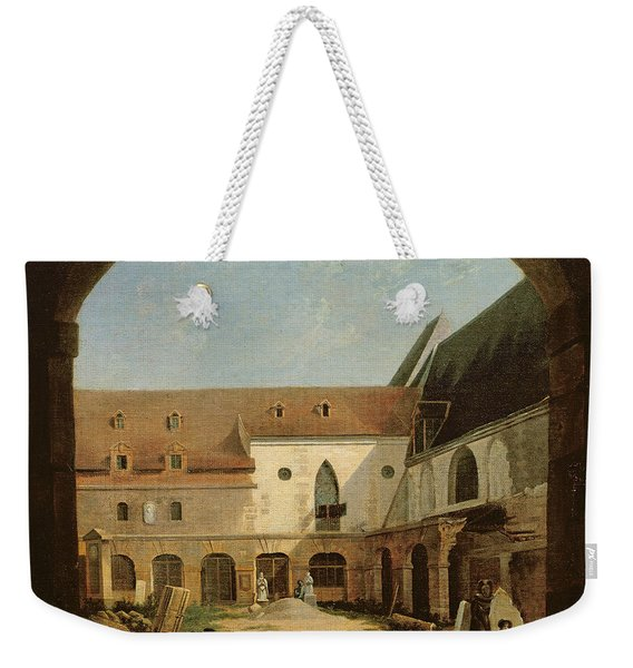 The Convent Courtyard Of Petits-augustins In Paris, C.1818 Oil On Canvas Weekender Tote Bag