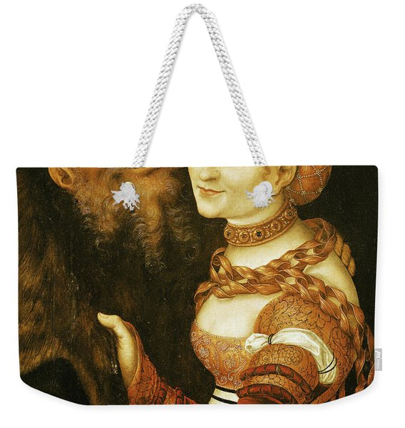 The Courtesan And The Old Man, C.1530 Oil On Canvas Weekender Tote Bag