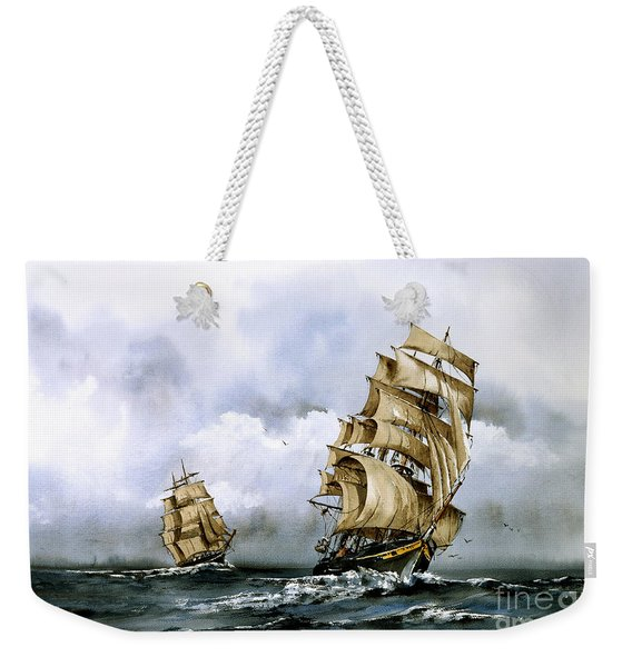 The Cutty Sark And The Red Clipper Weekender Tote Bag
