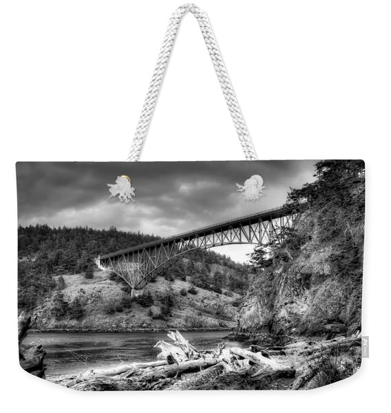 The Deception Pass Bridge II Bw Weekender Tote Bag