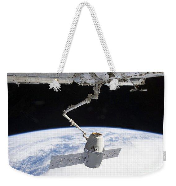 The Docking Of Spacex Dragon Weekender Tote Bag