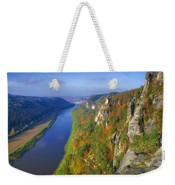 The Elbe Sandstone Mountains Along The Elbe River Weekender Tote Bag