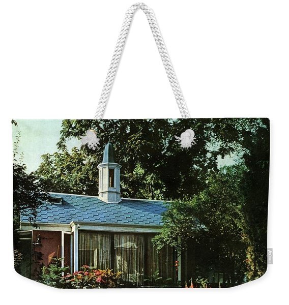 The Exterior Of A House And Patio Furniture Weekender Tote Bag