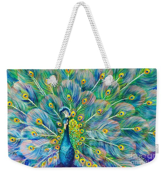 Weekender Tote Bag featuring the painting The Eyes Have It by Nancy Cupp