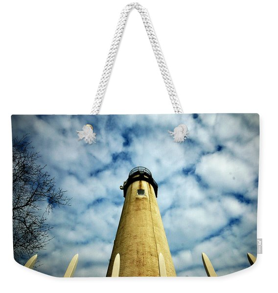 The Fenwick Light And A Mackerel Sky Weekender Tote Bag