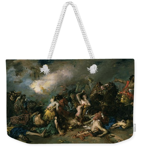The Final Day Of Sagunto In 219bc, 1869 Oil On Canvas Weekender Tote Bag