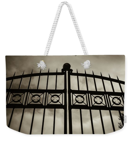 The Gate In Sepia Weekender Tote Bag