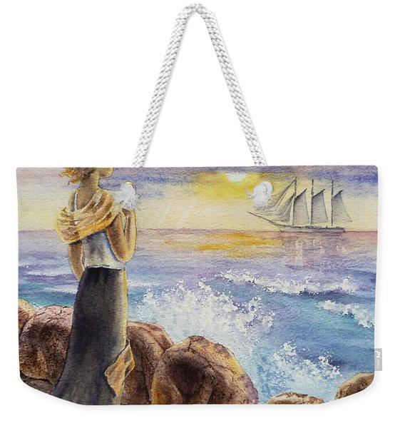 The Girl And The Ocean Weekender Tote Bag