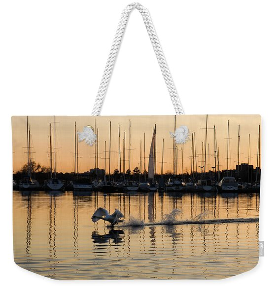 The Golden Takeoff - Swan Sunset And Yachts At A Marina In Toronto Canada Weekender Tote Bag