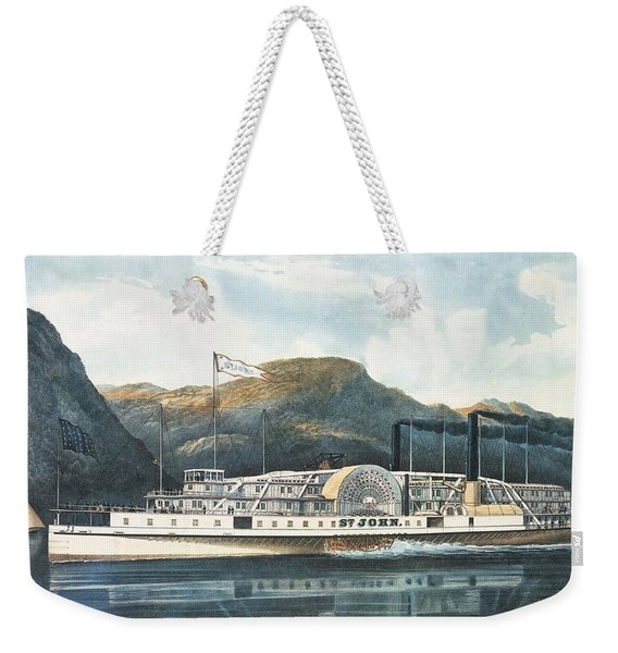 The Hudson River Steamboat St. John, Published 1864 Colour Litho Weekender Tote Bag