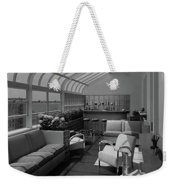 The Interior Of A Rooftop Terrace Weekender Tote Bag