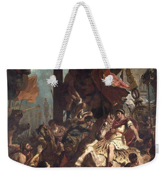 The Justice Of Trajan 53-117 1840 Oil On Canvas Weekender Tote Bag