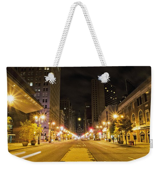 The Lights On Broad Street Weekender Tote Bag