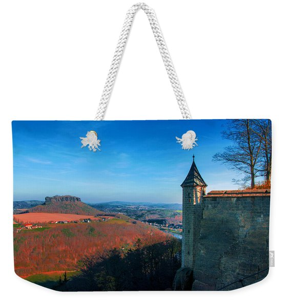 The Lilienstein Behind The Fortress Koenigstein Weekender Tote Bag