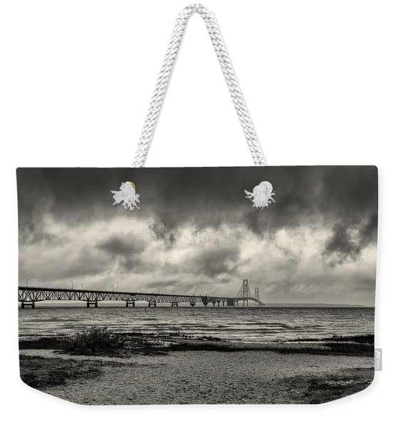 The Mackinac Bridge B W Weekender Tote Bag