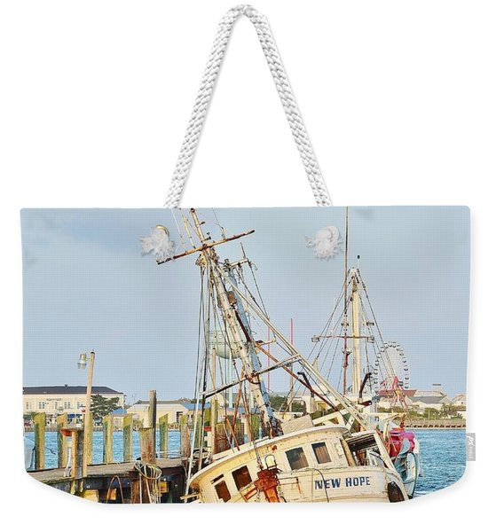 Weekender Tote Bag featuring the photograph The New Hope Sunken Ship - Ocean City Maryland by Kim Bemis