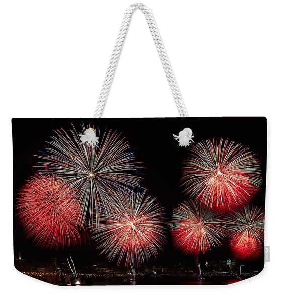 The New York City Skyline All Lit Up Weekender Tote Bag