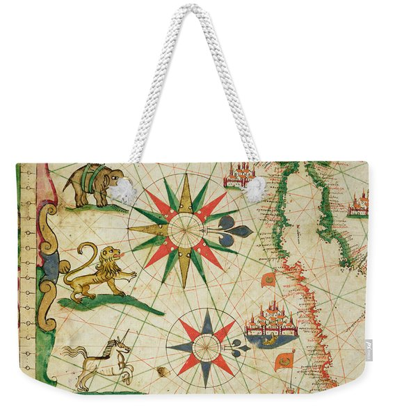 The North African Coast, From A Nautical Atlas, 1651 Ink On Vellum Detail From 330919 Weekender Tote Bag