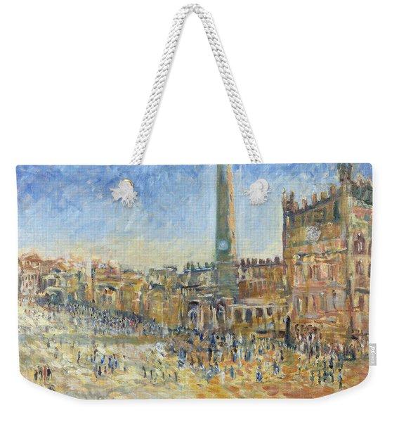 The Piazza In Siena, 1995 Oil On Canvas Weekender Tote Bag