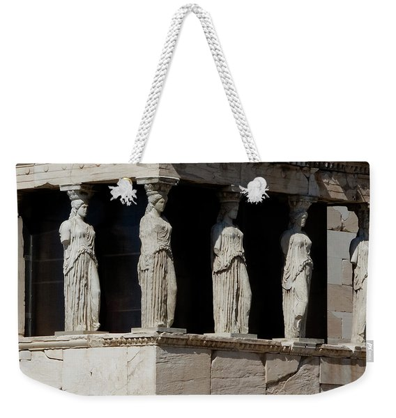 Weekender Tote Bag featuring the photograph The Porch Of Maidens by Lorraine Devon Wilke