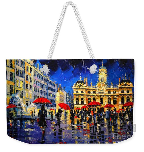 The Red Umbrellas Of Lyon Weekender Tote Bag