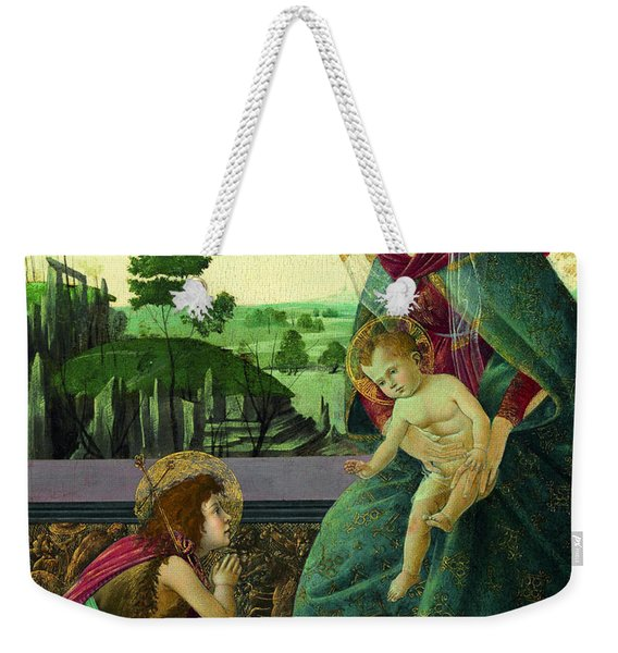The Rockefeller Madonna. Madonna And Child With Young Saint John The Baptist Weekender Tote Bag