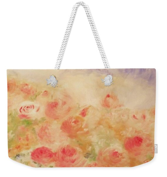 Weekender Tote Bag featuring the painting The Rose Bush by Laurie Lundquist