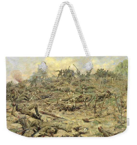 The Russian Infantry Attacking The German Entrenchments Weekender Tote Bag