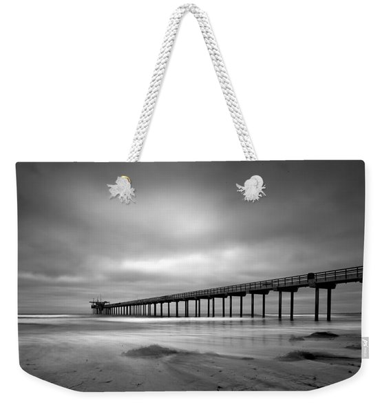 The Scripps Pier - Black And White Weekender Tote Bag