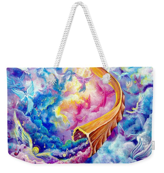 Weekender Tote Bag featuring the painting The Shofar by Nancy Cupp