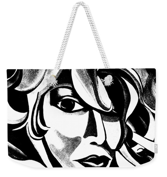 Black And White Abstract Woman Face Art Weekender Tote Bag
