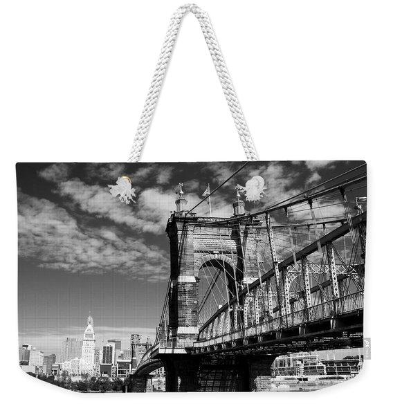 The Suspension Bridge Bw Weekender Tote Bag