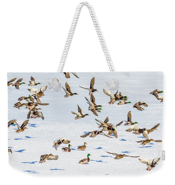 Weekender Tote Bag featuring the photograph The Takeoff by Garvin Hunter