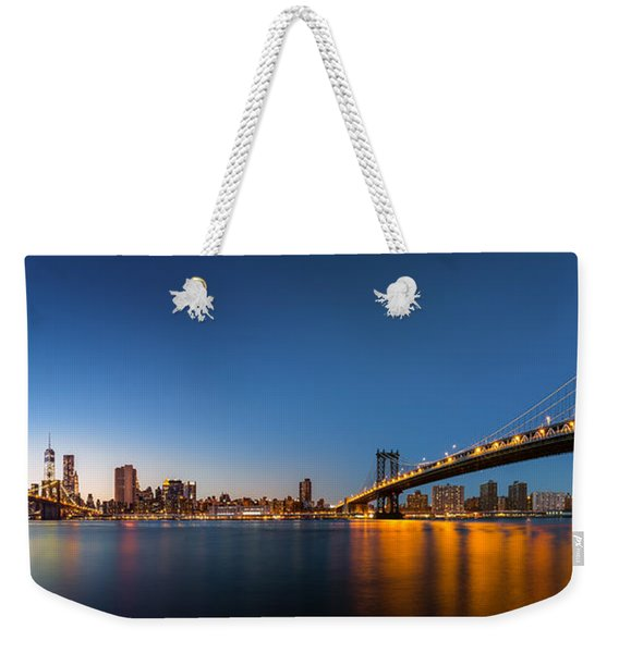 Weekender Tote Bag featuring the photograph The Two Bridges by Mihai Andritoiu
