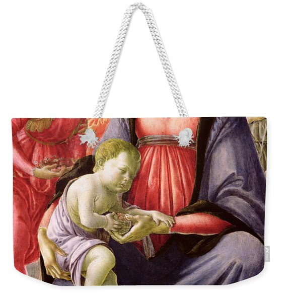 The Virgin And Child Surrounded By Five Angels Weekender Tote Bag