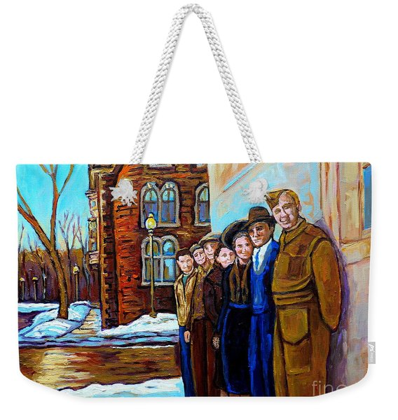 The War Years 1942 Montreal St Mathieu And De Maisonneuve Street Scene Canadian Art Carole Spandau Weekender Tote Bag