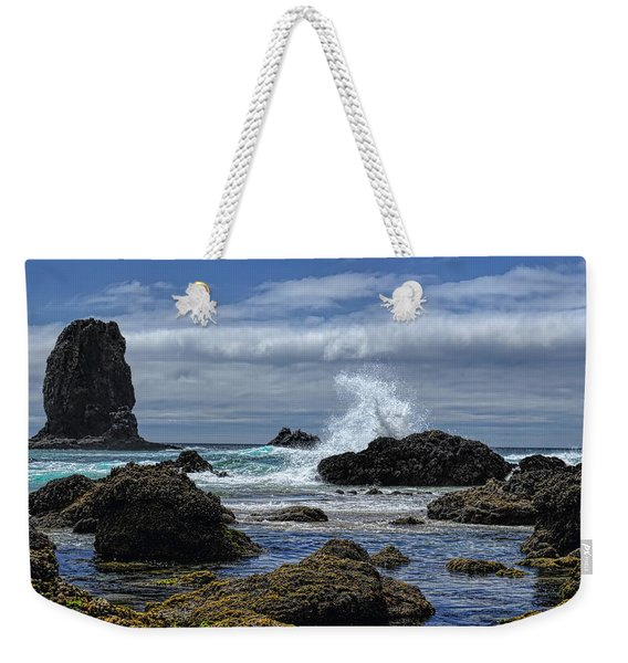 The Waves At Haystack Rock Weekender Tote Bag