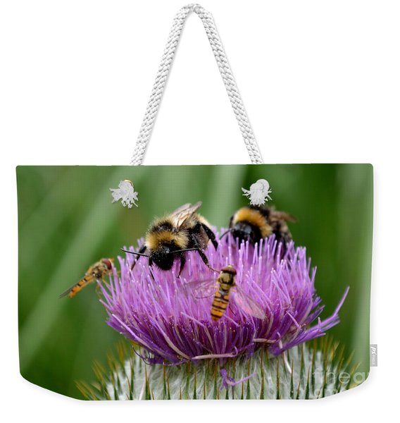 Weekender Tote Bag featuring the photograph Thistle Wars by Scott Lyons