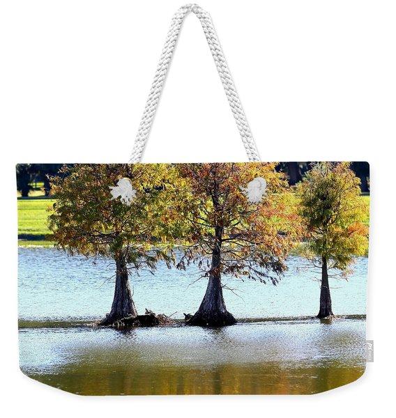 Three Autumn Cypress Trees Weekender Tote Bag