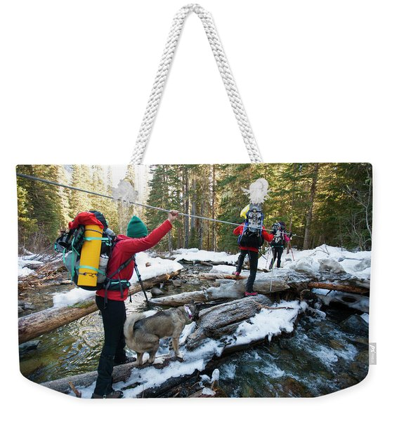 Three Backpackers And A Dog Cross Weekender Tote Bag