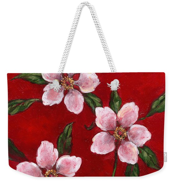 Three Blossoms On Red Weekender Tote Bag