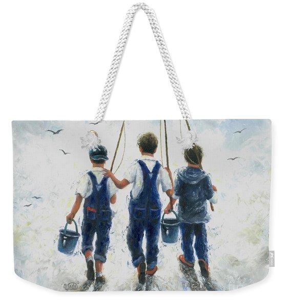 Three Boys Going Fishing Weekender Tote Bag