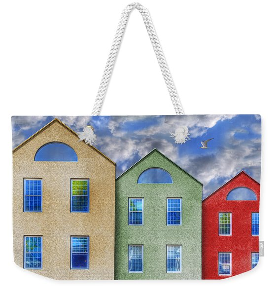 Three Buildings And A Bird Weekender Tote Bag